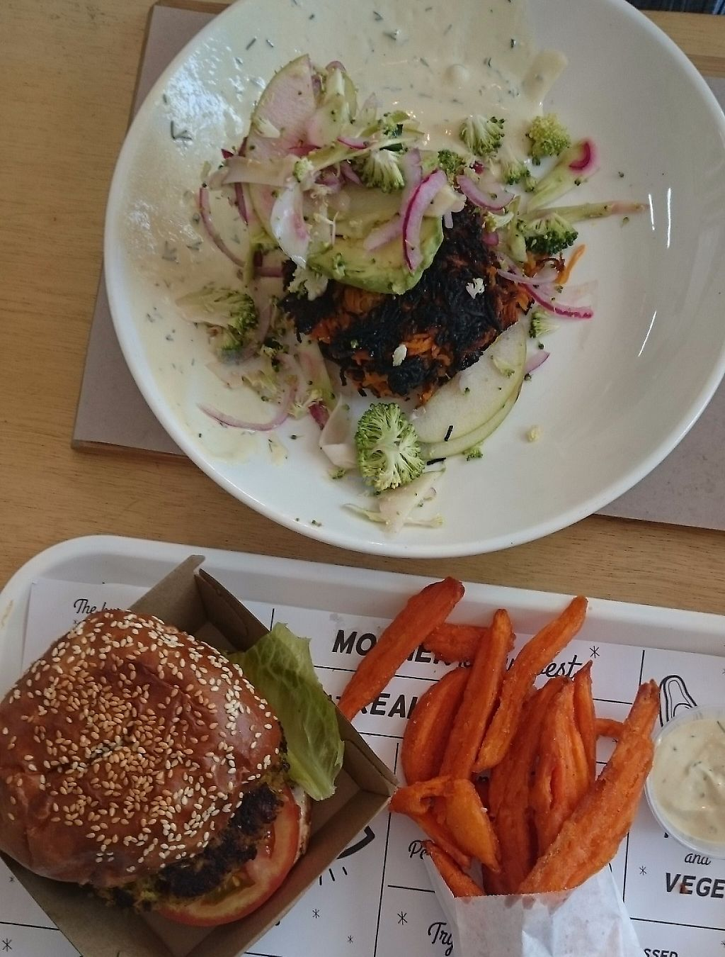 """Photo of Pearth Organic Kitchen  by <a href=""""/members/profile/Cynthia1998"""">Cynthia1998</a> <br/>The vegan burger with sweet potato fries and aioli in the front and another vegan dish at the back  <br/> March 18, 2017  - <a href='/contact/abuse/image/70002/276265'>Report</a>"""