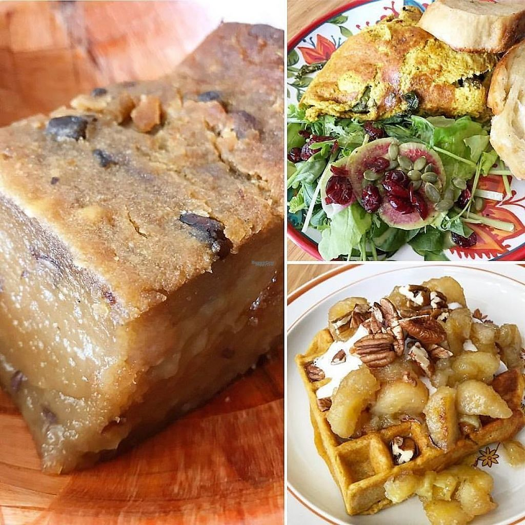 """Photo of Juicy Brew   by <a href=""""/members/profile/lkong"""">lkong</a> <br/>Vegan brunch! Baked ulu azuki mochi (aka niangao, 年糕); """"omelette"""" w/ asparagus, mushroom, parsley-walnut pesto, kalo, vegan sausage, the most QQ fried bread; pumpkin flax waffle w/ pecans, banana, maple syrup, coconut whip <br/> December 12, 2016  - <a href='/contact/abuse/image/70004/200155'>Report</a>"""