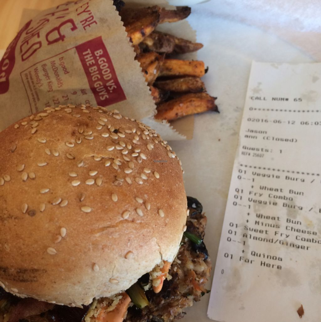 """Photo of b.good  by <a href=""""/members/profile/KindVegan"""">KindVegan</a> <br/>burger Elizel style minus the cheese <br/> June 13, 2016  - <a href='/contact/abuse/image/70021/153713'>Report</a>"""