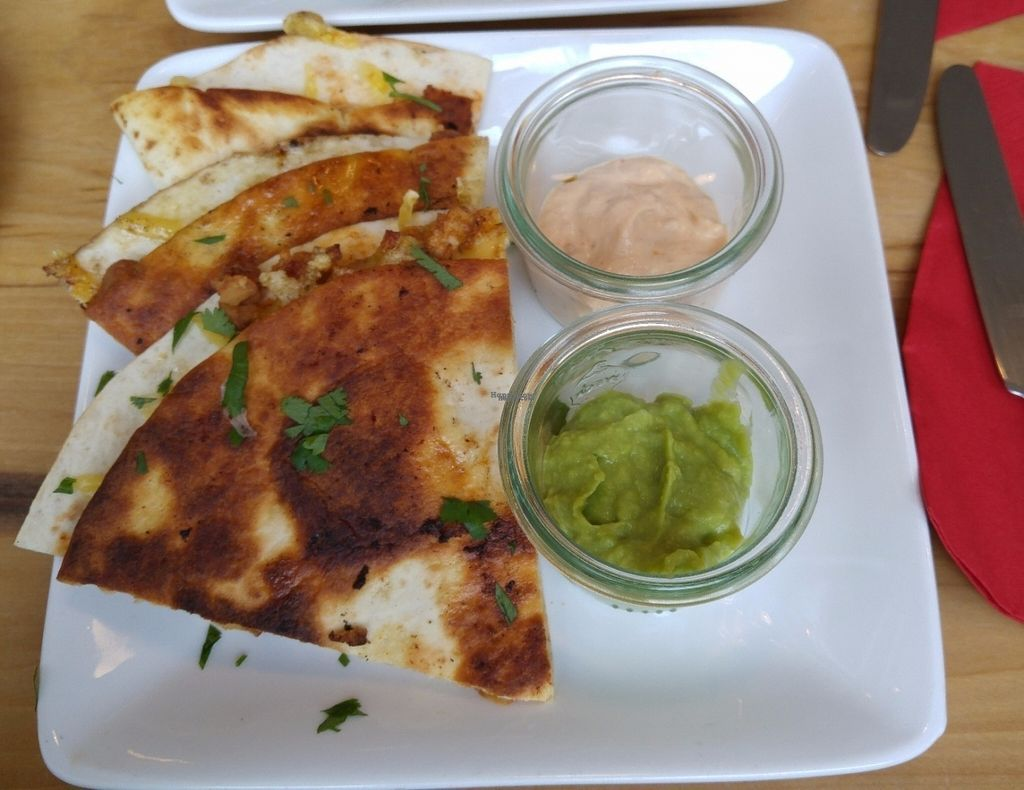 """Photo of Cafe Blattgold  by <a href=""""/members/profile/ZestyRoxy"""">ZestyRoxy</a> <br/>Quesadilla w/guacamole and chipotle mayo <br/> November 7, 2016  - <a href='/contact/abuse/image/70055/187169'>Report</a>"""