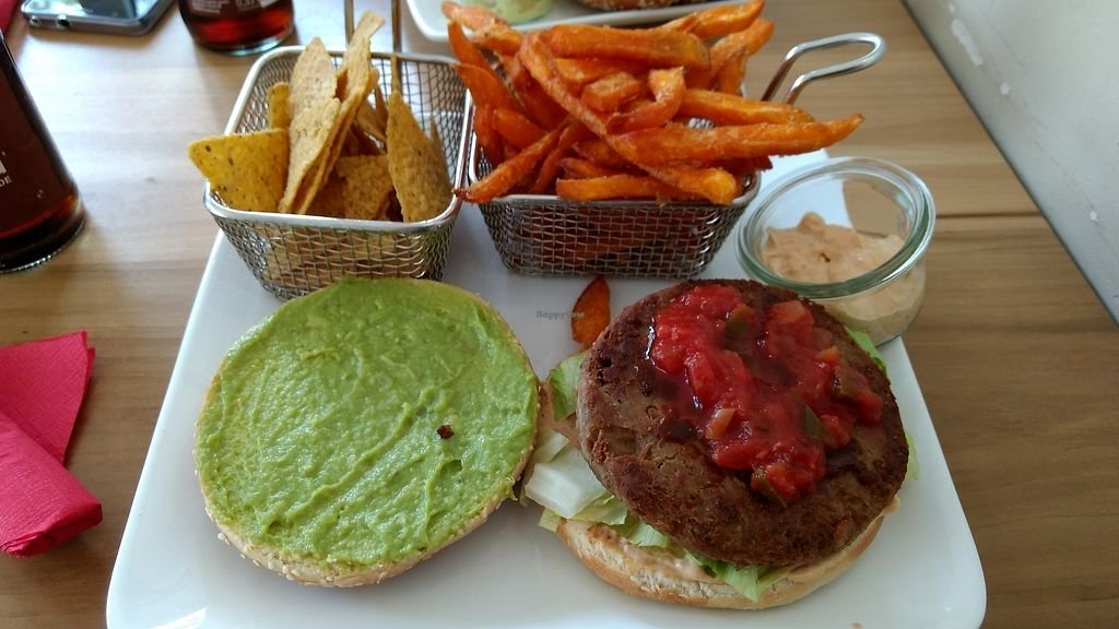 """Photo of Cafe Blattgold  by <a href=""""/members/profile/darkrabbit"""">darkrabbit</a> <br/>TexMex burger with nachos and sweet potato fries <br/> August 19, 2017  - <a href='/contact/abuse/image/70055/294422'>Report</a>"""