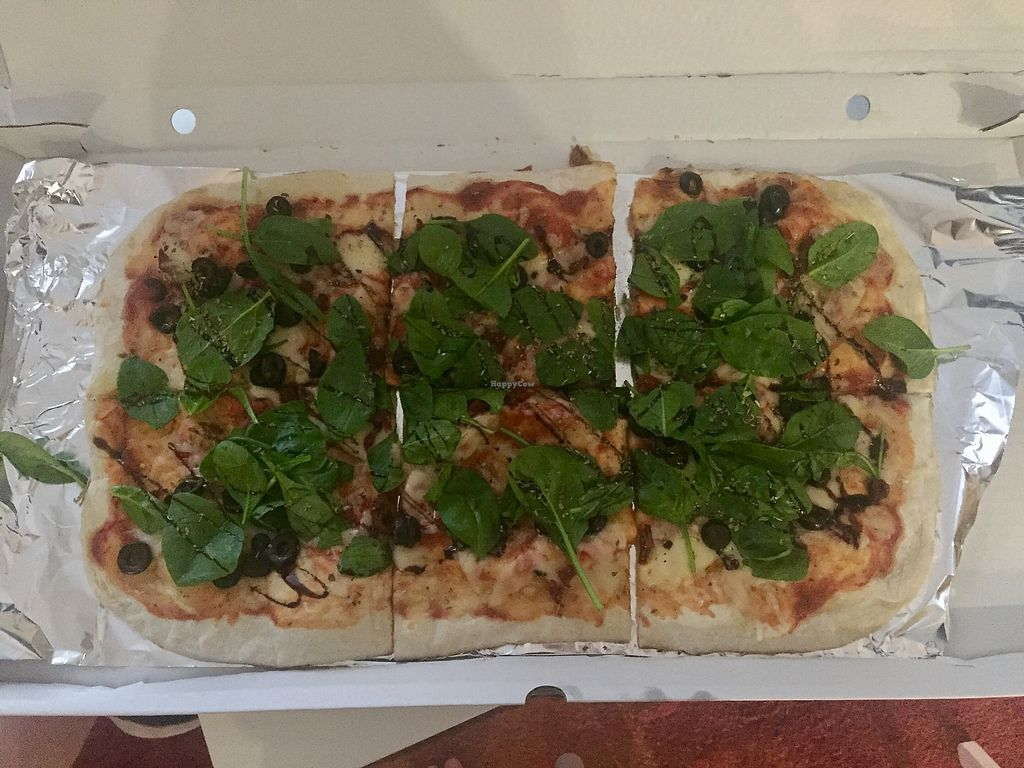 """Photo of Hand Go  by <a href=""""/members/profile/nitahannele"""">nitahannele</a> <br/>Vegan pizza of choice - spinach, olives & sundries tomatoes <br/> September 19, 2017  - <a href='/contact/abuse/image/70072/306232'>Report</a>"""