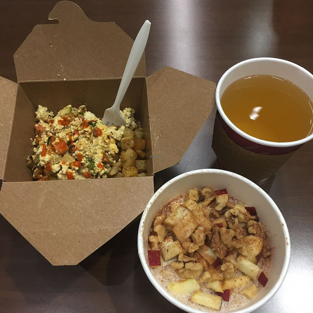"Photo of Rabbits Cafe  by <a href=""/members/profile/radicalmycology"">radicalmycology</a> <br/>Quinoa porridge, veggie scramble with Yukon Gold potatoes, and yerba mate <br/> August 12, 2017  - <a href='/contact/abuse/image/70084/291767'>Report</a>"
