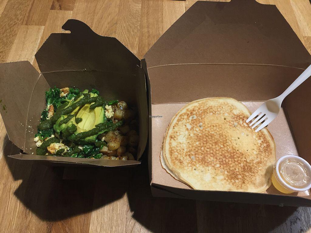 "Photo of Rabbits Cafe  by <a href=""/members/profile/radicalmycology"">radicalmycology</a> <br/>Green scramble with Yukon Gold potatoes and a side pancake with agave syrup <br/> August 12, 2017  - <a href='/contact/abuse/image/70084/291769'>Report</a>"