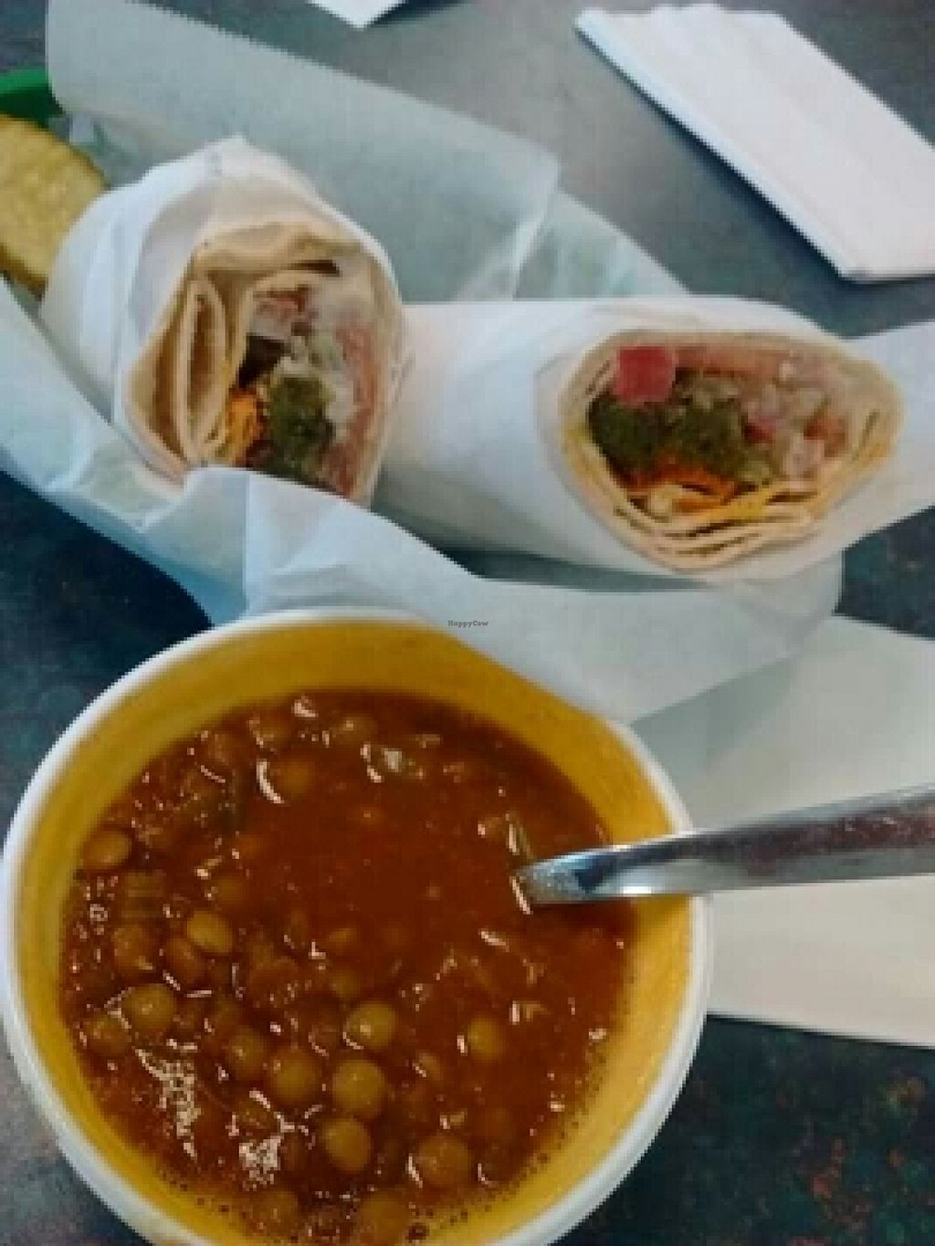 """Photo of Bread and Butter Deli  by <a href=""""/members/profile/Lgonz48514"""">Lgonz48514</a> <br/>Falafel wrap with Lentil soup all vegan <br/> March 3, 2016  - <a href='/contact/abuse/image/70139/138676'>Report</a>"""