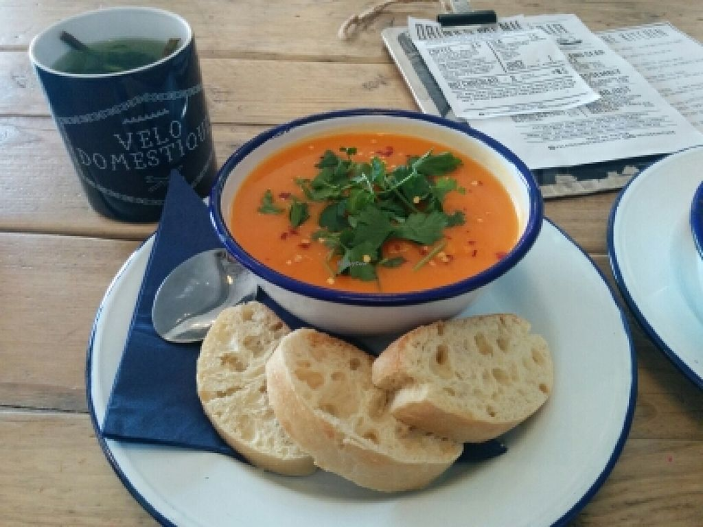 """Photo of Velo Domestique  by <a href=""""/members/profile/vineeta9"""">vineeta9</a> <br/>awesome soup - sweet potato and lime <br/> February 27, 2016  - <a href='/contact/abuse/image/70195/137963'>Report</a>"""