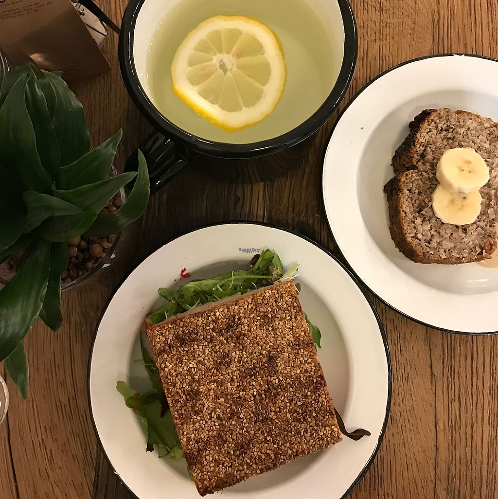 """Photo of Wild & The Moon - rue Charlot  by <a href=""""/members/profile/Melissaj1990"""">Melissaj1990</a> <br/>sandwich with lemon water and banana bread <br/> April 22, 2017  - <a href='/contact/abuse/image/70212/250863'>Report</a>"""