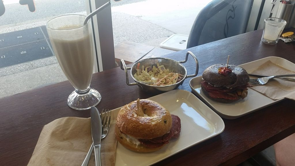 "Photo of CLOSED: Flux Valley  by <a href=""/members/profile/NicolaSterling"">NicolaSterling</a> <br/>Vegan pizza bagels, house slaw with incredible tahini dressing, peanut butter mylkshake and coffee! Amazing! <br/> June 2, 2016  - <a href='/contact/abuse/image/70248/151861'>Report</a>"