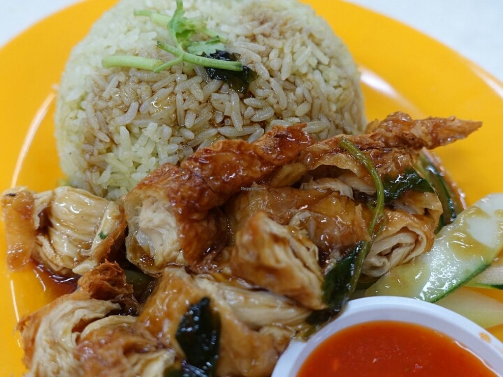 """Photo of Kwan Inn Vegetarian Stall - Boon Lay  by <a href=""""/members/profile/JimmySeah"""">JimmySeah</a> <br/>mock chicken rice. very delicious! <br/> June 26, 2016  - <a href='/contact/abuse/image/70252/156191'>Report</a>"""