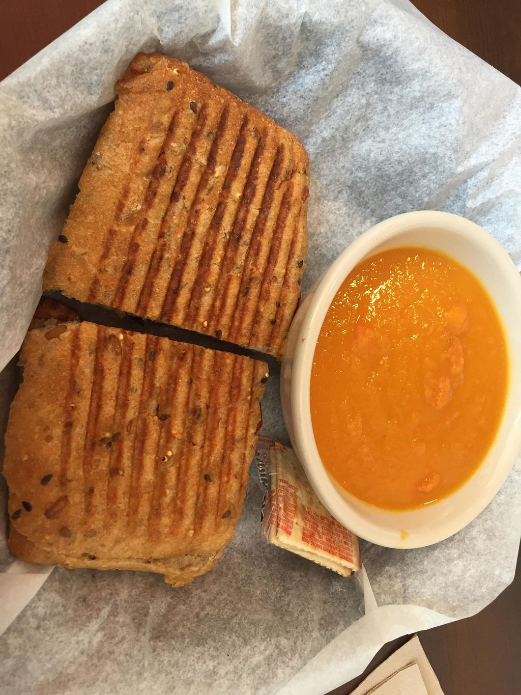 Photo of Fresh Healthy Cafe  by V3ganFoodie <br/>Portobello Panini (without cheese) and Carrot Ginger Soup <br/> February 28, 2016  - <a href='/contact/abuse/image/70268/138127'>Report</a>