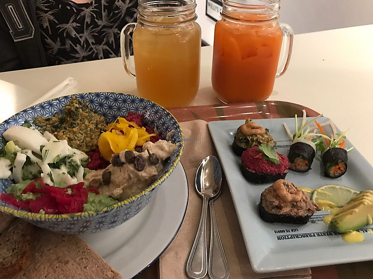 """Photo of Le Botaniste  by <a href=""""/members/profile/Trishroberts"""">Trishroberts</a> <br/>the sampler plate with a couple of juices <br/> July 30, 2017  - <a href='/contact/abuse/image/70277/286536'>Report</a>"""