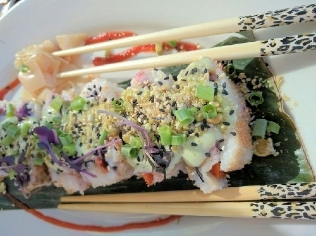 "Photo of No Bones Beach Club  by <a href=""/members/profile/The%20Hungry%20Vegan"">The Hungry Vegan</a> <br/>Volcano Roll <br/> August 23, 2016  - <a href='/contact/abuse/image/70318/233450'>Report</a>"
