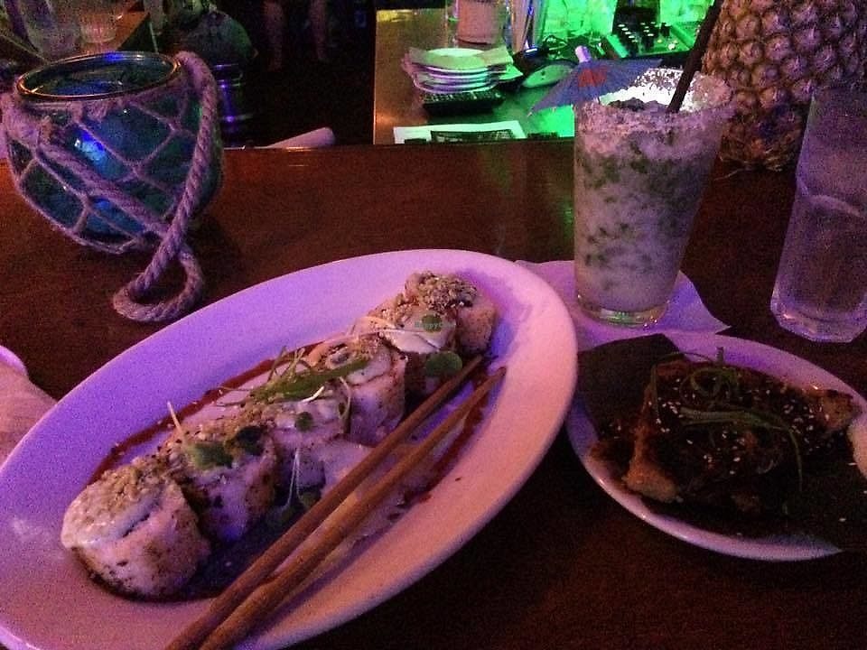 "Photo of No Bones Beach Club  by <a href=""/members/profile/TheModernHerbivore"">TheModernHerbivore</a> <br/>Grilled volcano roll and taro cakes <br/> August 9, 2017  - <a href='/contact/abuse/image/70318/290638'>Report</a>"