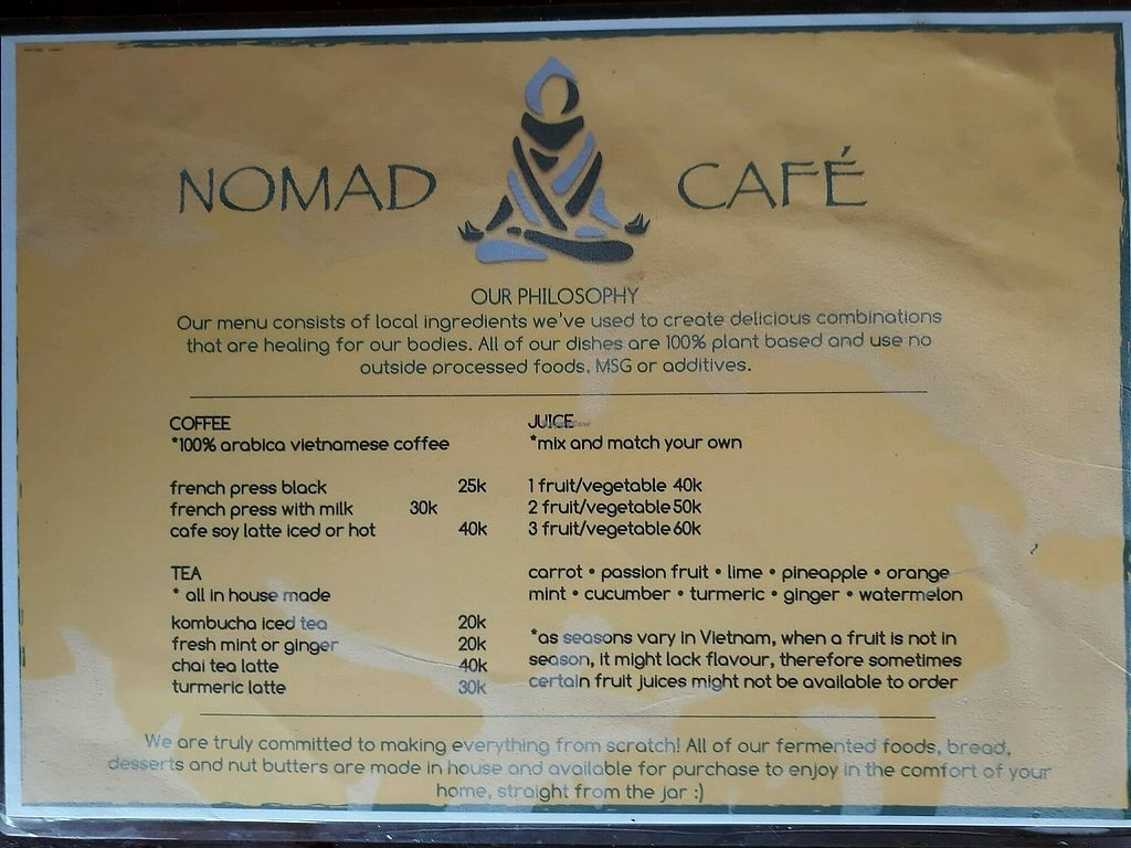 "Photo of Nomad Cafe  by <a href=""/members/profile/LilacHippy"">LilacHippy</a> <br/>Drinks Menu <br/> December 27, 2017  - <a href='/contact/abuse/image/70333/339578'>Report</a>"