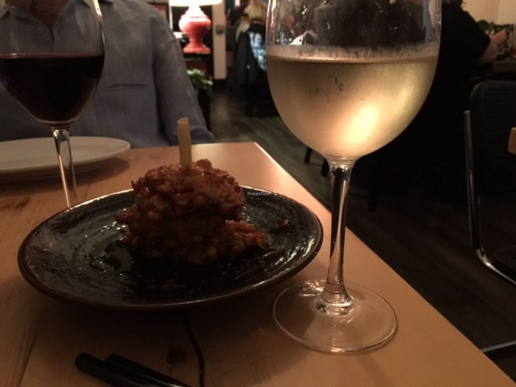 """Photo of Mango on Main  by <a href=""""/members/profile/Napa%20Valley%20Vegan"""">Napa Valley Vegan</a> <br/>Michelin rated Indochine Corn Fritters with plum sauce <br/> March 1, 2016  - <a href='/contact/abuse/image/70359/138347'>Report</a>"""
