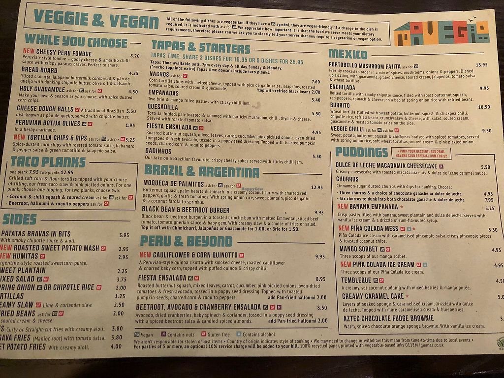 "Photo of Las Iguanas  by <a href=""/members/profile/SkittenSmuggler"">SkittenSmuggler</a> <br/>Vegan/Vegetarian Menu 24/01/18 <br/> January 24, 2018  - <a href='/contact/abuse/image/70360/350600'>Report</a>"