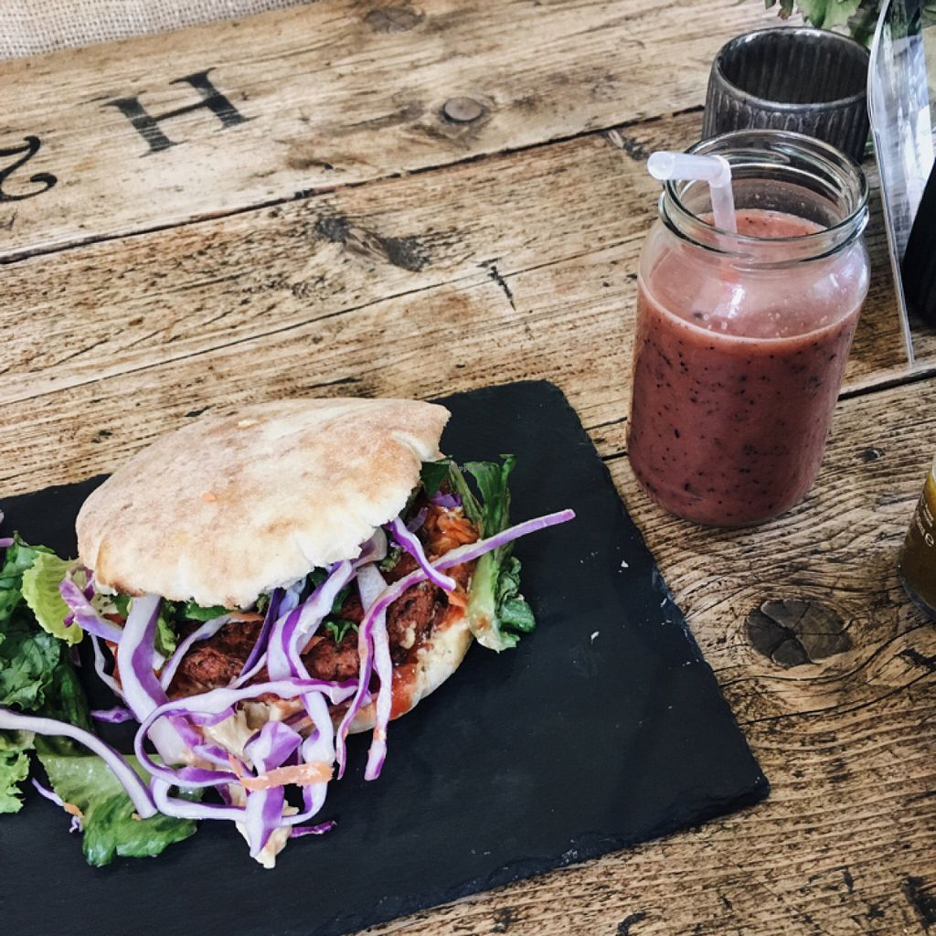 """Photo of House Twenty8  by <a href=""""/members/profile/RachelArthurs"""">RachelArthurs</a> <br/>Really yummy veggie burger with smoothie which was super refreshing:) This cafe has such a great range of vegetarian and vegan options which was so great to see in the local area <br/> June 30, 2016  - <a href='/contact/abuse/image/70422/156919'>Report</a>"""