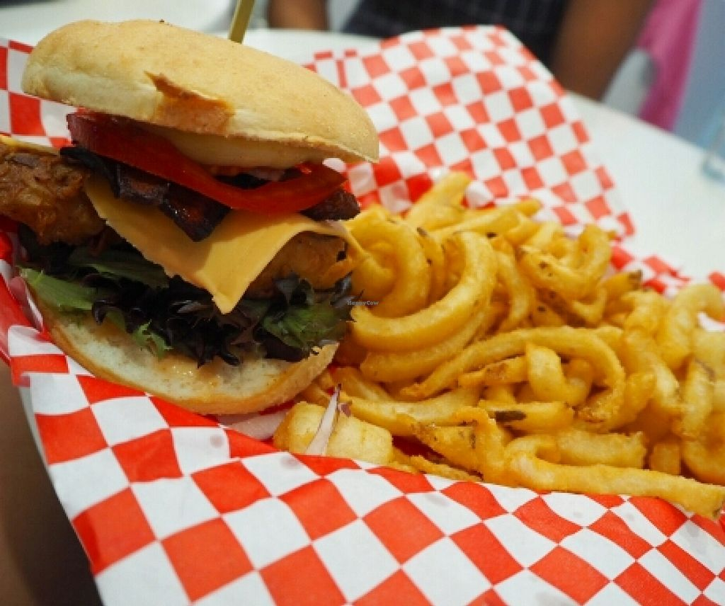 """Photo of Sugar Shack Diner  by <a href=""""/members/profile/JanineBarthel"""">JanineBarthel</a> <br/>soruhern fried tofu burger <br/> March 3, 2016  - <a href='/contact/abuse/image/70427/138608'>Report</a>"""