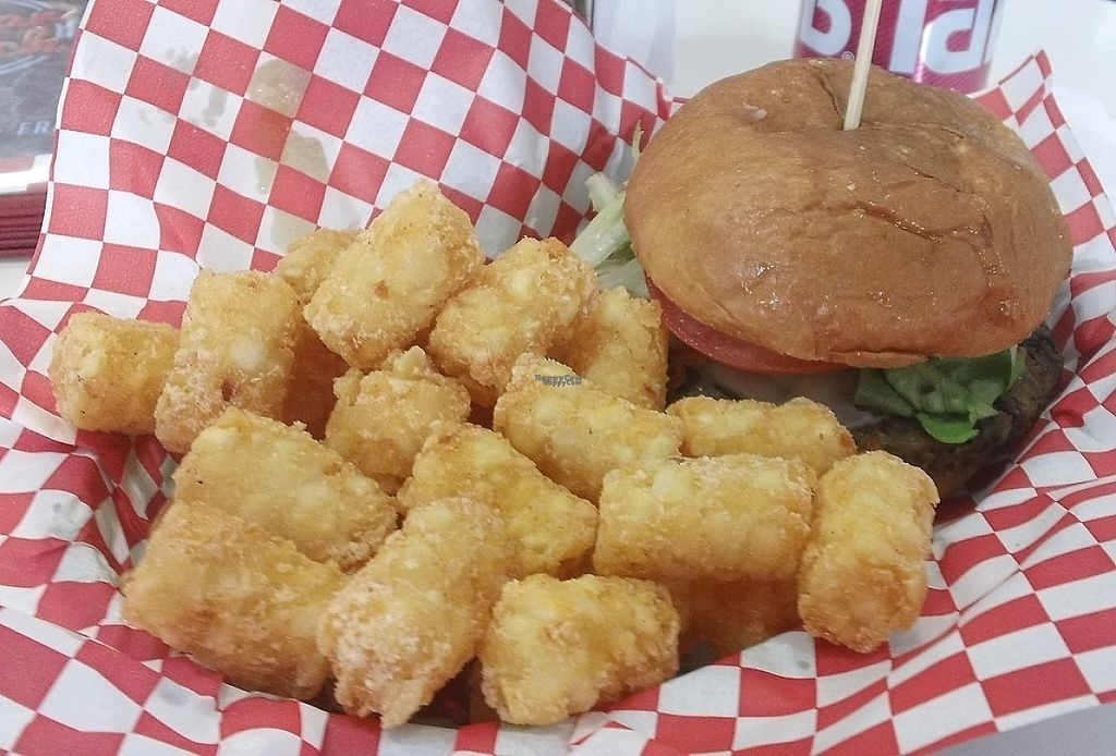"""Photo of Sugar Shack Diner  by <a href=""""/members/profile/cvxmelody"""">cvxmelody</a> <br/>""""66 Original"""" Burger & Tater Tots (all vegan) <br/> January 5, 2017  - <a href='/contact/abuse/image/70427/208209'>Report</a>"""