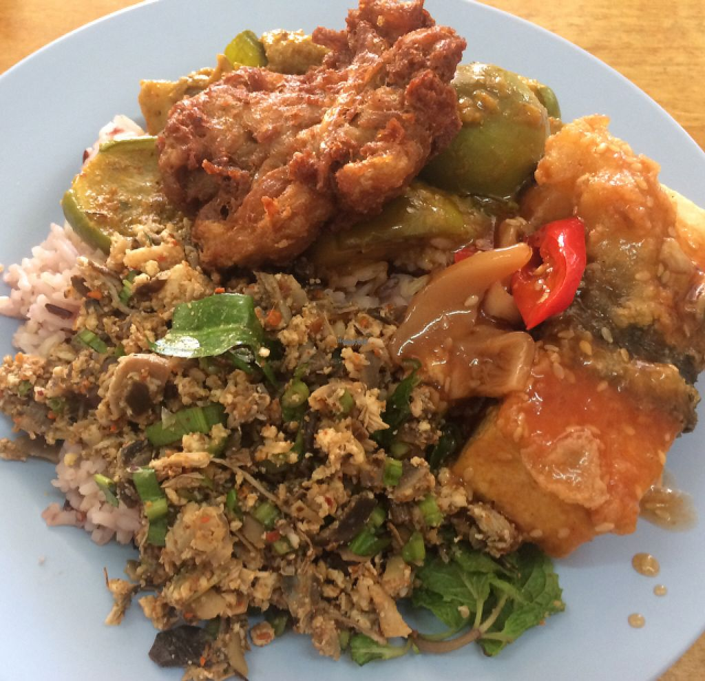 """Photo of Hongming Vegetarian Food  by <a href=""""/members/profile/FatTonyBMX"""">FatTonyBMX</a> <br/>Rice with two toppings, plus two extra tofu options. Total: 75 TBT.  <br/> January 9, 2017  - <a href='/contact/abuse/image/70471/209962'>Report</a>"""