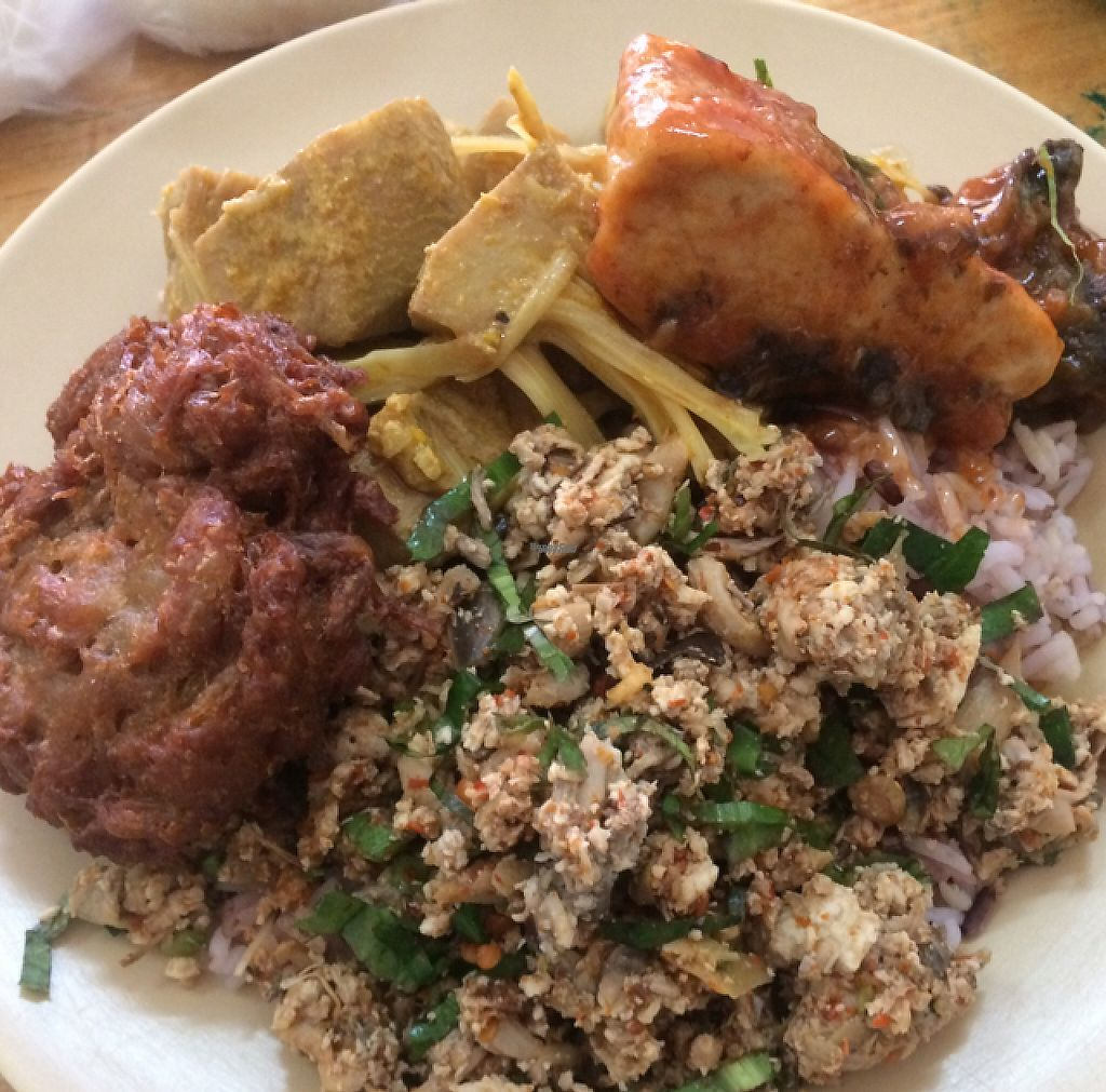 """Photo of Hongming Vegetarian Food  by <a href=""""/members/profile/FatTonyBMX"""">FatTonyBMX</a> <br/>Big plate of food. Rice with """"two toppings"""", plus two extra tofu add ons. Total: About 75 baht.   <br/> January 11, 2017  - <a href='/contact/abuse/image/70471/210655'>Report</a>"""