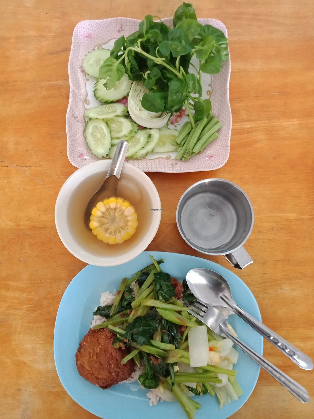 """Photo of Hongming Vegetarian Food  by <a href=""""/members/profile/GerryT"""">GerryT</a> <br/>30 baht rice and two choices, 25 baht tofu thing (+ soup + water + salad for free) <br/> March 8, 2018  - <a href='/contact/abuse/image/70471/368143'>Report</a>"""