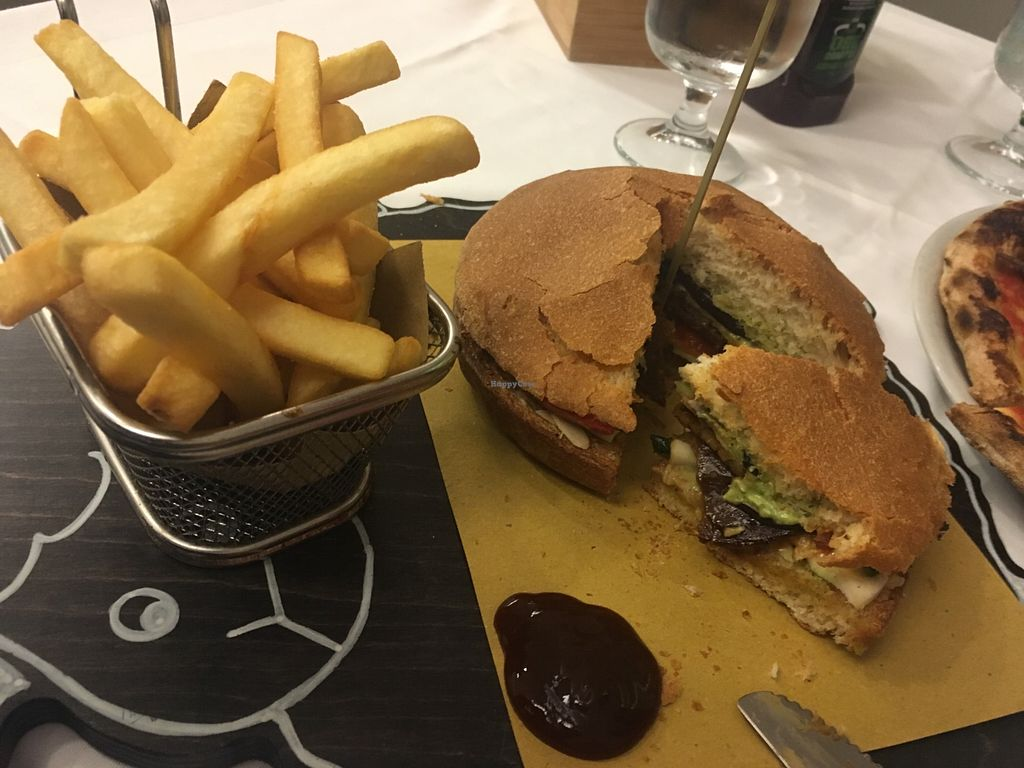 """Photo of Pizzeria La Pecora Nera  by <a href=""""/members/profile/nal123"""">nal123</a> <br/>Seitan burger and chips :) <br/> April 19, 2018  - <a href='/contact/abuse/image/70499/388163'>Report</a>"""