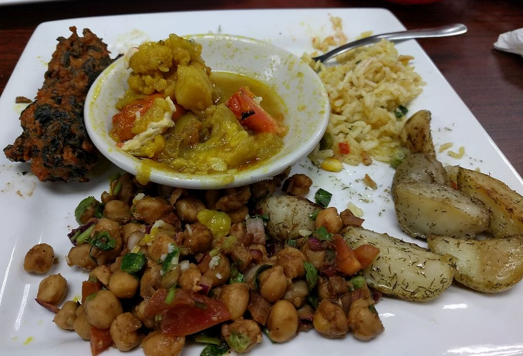 "Photo of Shahi Foods  by <a href=""/members/profile/Larkspur"">Larkspur</a> <br/>Dilled potatoes, pakoras, mixed veg.,veg. rice pilaf, and chixkpea salad <br/> March 12, 2016  - <a href='/contact/abuse/image/70512/229688'>Report</a>"