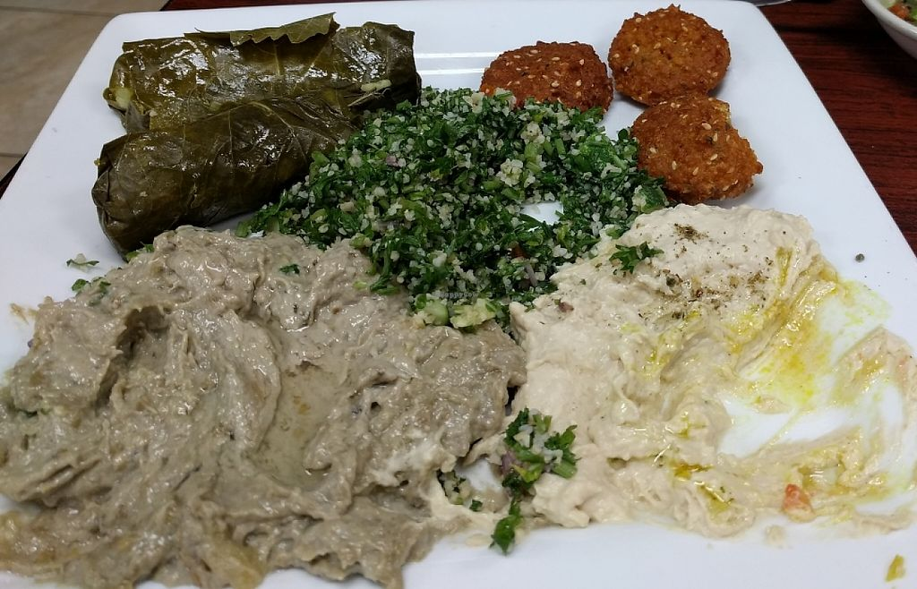 "Photo of Shahi Foods  by <a href=""/members/profile/Larkspur"">Larkspur</a> <br/>Tabbouli, vegan dolmas, falafel, hummus and baba ghanoush <br/> March 12, 2016  - <a href='/contact/abuse/image/70512/229689'>Report</a>"