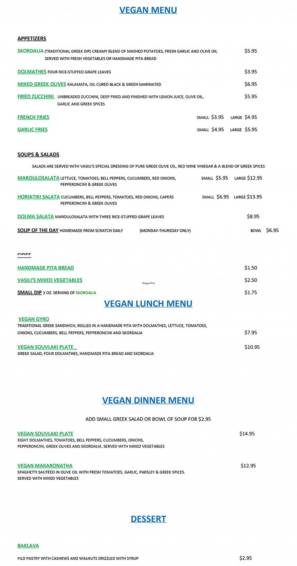 """Photo of Vasili's Greek Restaurant  by <a href=""""/members/profile/BouncyHouseVegan"""">BouncyHouseVegan</a> <br/>Vasili's Greek Restaurant Vegan Menu Section <br/> March 9, 2016  - <a href='/contact/abuse/image/70513/139474'>Report</a>"""