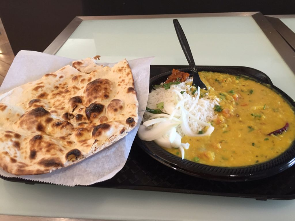 """Photo of India Masala  by <a href=""""/members/profile/vegpilot"""">vegpilot</a> <br/>Tarka Dall with Naan and rice <br/> March 8, 2016  - <a href='/contact/abuse/image/70515/139264'>Report</a>"""