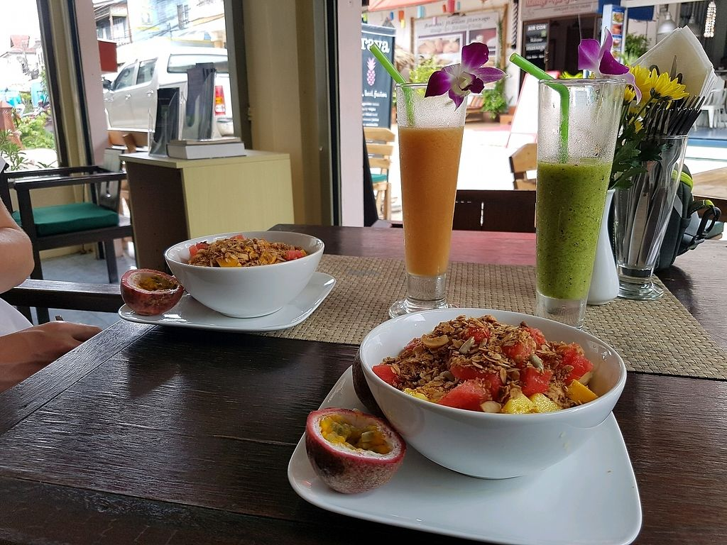 """Photo of Prava Bar  by <a href=""""/members/profile/JennyReeve"""">JennyReeve</a> <br/>Bircher muesli topped fruit and granola, with shakes <br/> August 30, 2017  - <a href='/contact/abuse/image/70530/298914'>Report</a>"""