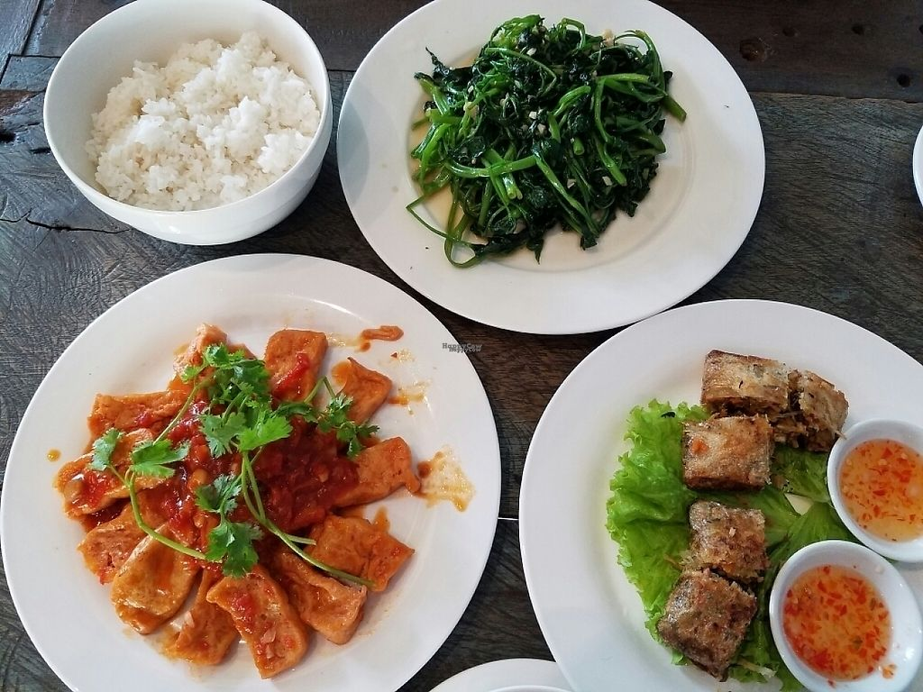 "Photo of Am Vegetarian  by <a href=""/members/profile/Sdsmilly"">Sdsmilly</a> <br/>tofu in tomato sauce, spring rolls, morning glory, and steamed rice <br/> November 8, 2016  - <a href='/contact/abuse/image/70533/187428'>Report</a>"