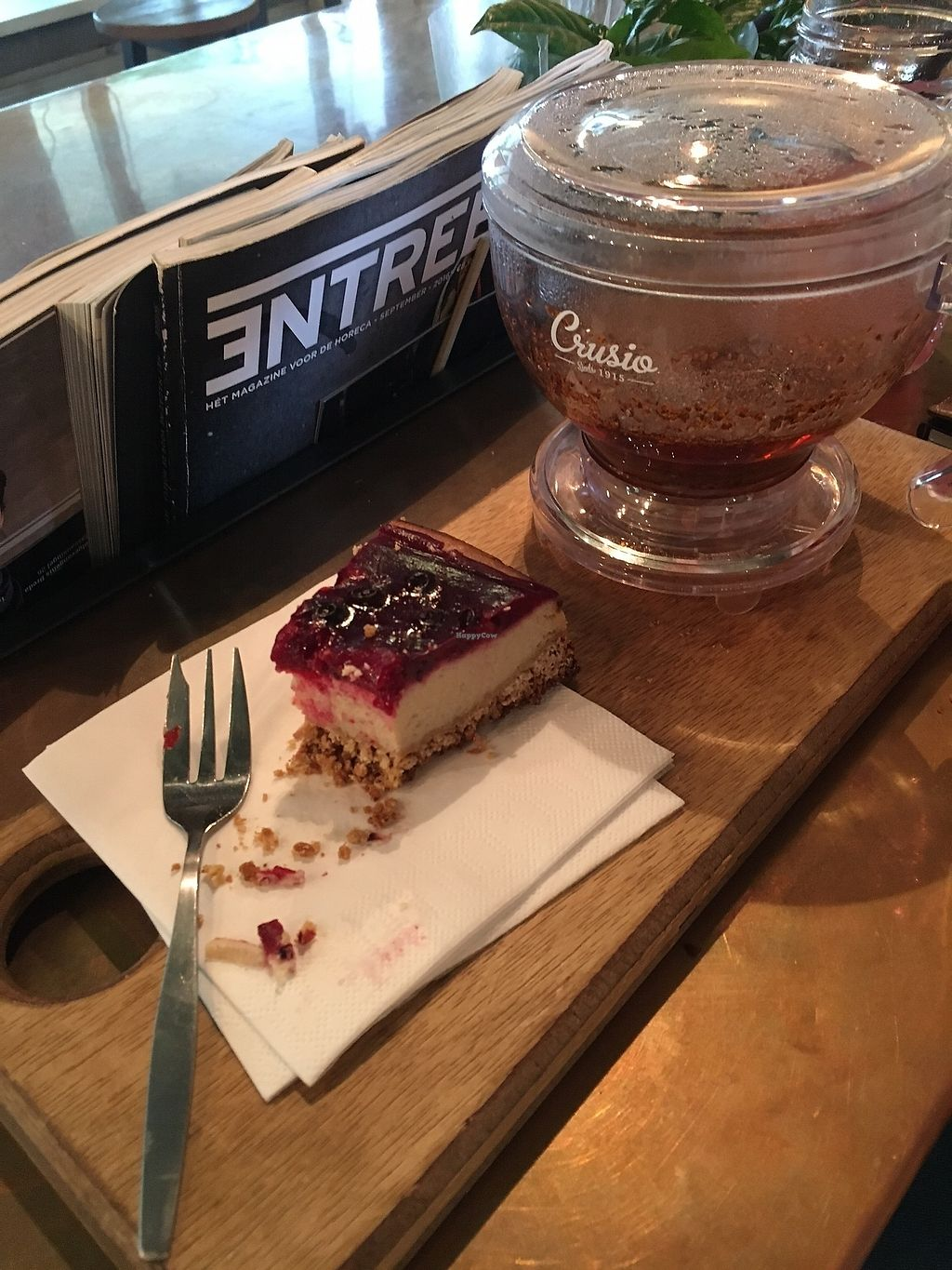 """Photo of Coffeelab  by <a href=""""/members/profile/NoraChorfi"""">NoraChorfi</a> <br/>Vegan cheescake and Rooibos tea <br/> July 17, 2017  - <a href='/contact/abuse/image/70534/281363'>Report</a>"""