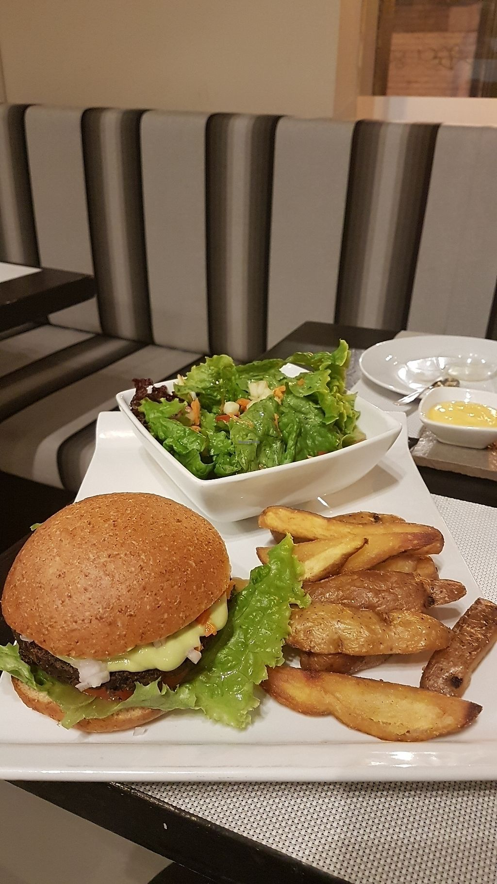 """Photo of Seitan Urban Bistro  by <a href=""""/members/profile/unabashed"""">unabashed</a> <br/>bean burger & fries ?????? <br/> August 29, 2017  - <a href='/contact/abuse/image/70536/298715'>Report</a>"""
