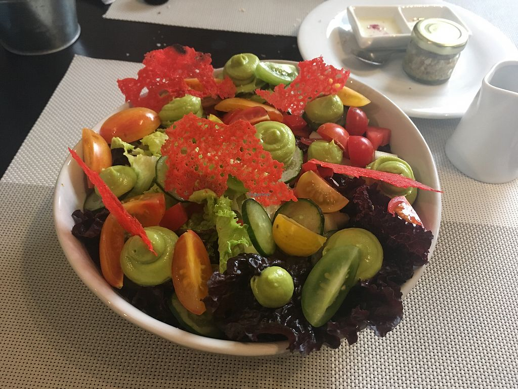 """Photo of Seitan Urban Bistro  by <a href=""""/members/profile/betsylarder"""">betsylarder</a> <br/>Garden salad - avocado cream, multicolored tomatoes  <br/> September 11, 2017  - <a href='/contact/abuse/image/70536/303350'>Report</a>"""