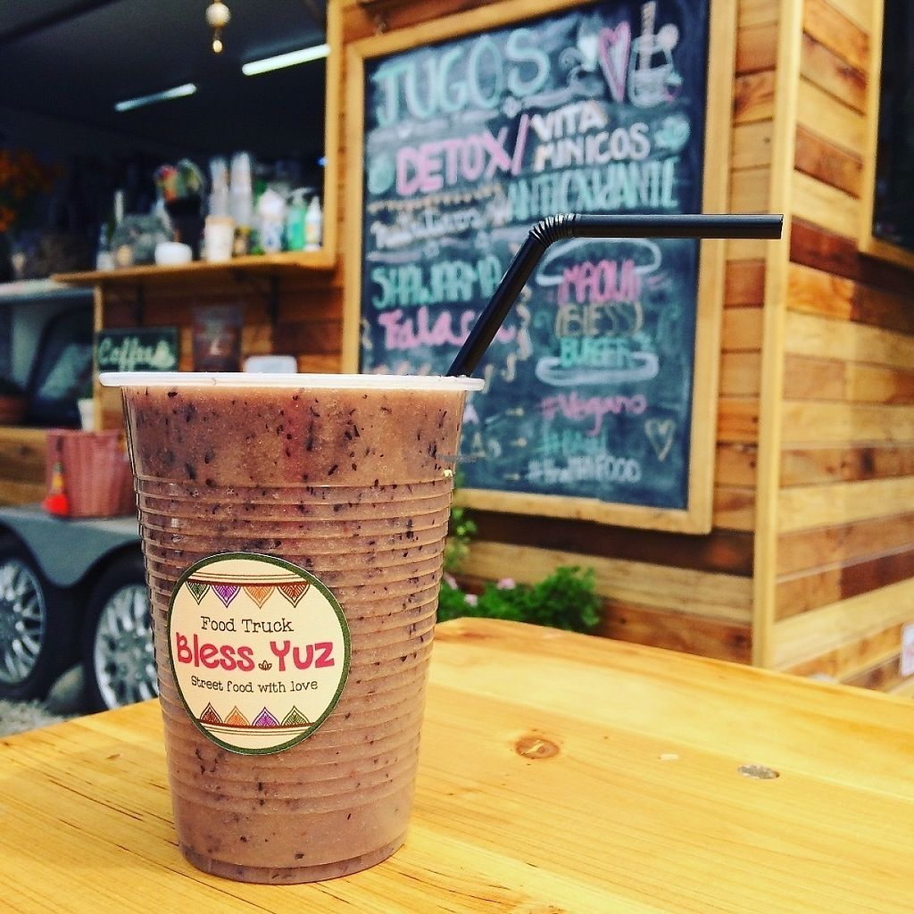 """Photo of Bless Yuz - Food Trailer  by <a href=""""/members/profile/FadiaHammad"""">FadiaHammad</a> <br/>Smoothie , Blueberry + Banana + Almond Milk <br/> March 2, 2017  - <a href='/contact/abuse/image/70553/231893'>Report</a>"""