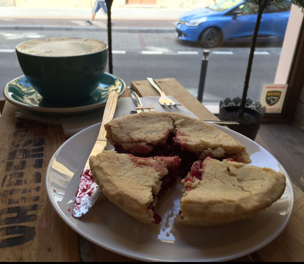"Photo of Sweet Life  by <a href=""/members/profile/DonnaC"">DonnaC</a> <br/>vegan cherry pie & soya chai latte <br/> July 23, 2016  - <a href='/contact/abuse/image/70554/161687'>Report</a>"