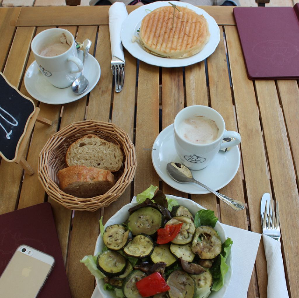 """Photo of Cafe Zuckerl  by <a href=""""/members/profile/Strawberrymilkshake"""">Strawberrymilkshake</a> <br/>panini and grilled vegetable salad  <br/> June 21, 2016  - <a href='/contact/abuse/image/70592/155267'>Report</a>"""