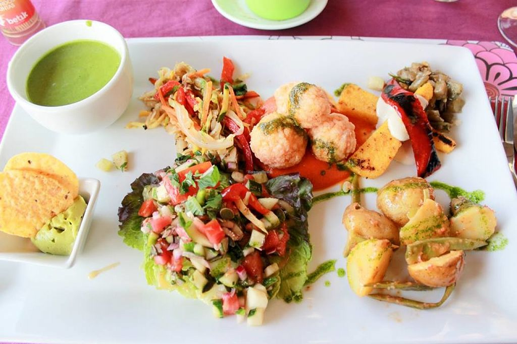"""Photo of Mezze  by <a href=""""/members/profile/SueClesh"""">SueClesh</a> <br/>vegan dinner (green gazpacho, guacamole, fresh salad, asian fried vegetables, rice balls in tomato sauce, grilled polenta with aubergine, baked potatoes with pesto) <br/> June 23, 2016  - <a href='/contact/abuse/image/70596/155780'>Report</a>"""
