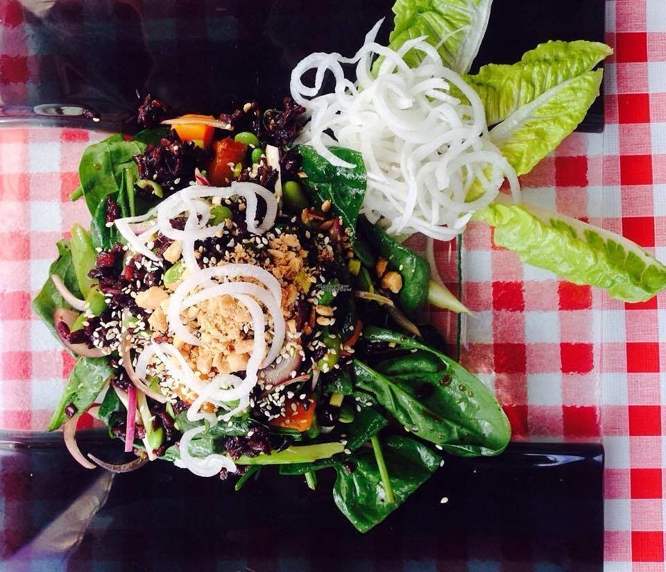 """Photo of Zen House  by <a href=""""/members/profile/Kyttiara"""">Kyttiara</a> <br/>Black Rice Salad with spinach, edamame, peanuts <br/> September 29, 2016  - <a href='/contact/abuse/image/70605/178586'>Report</a>"""