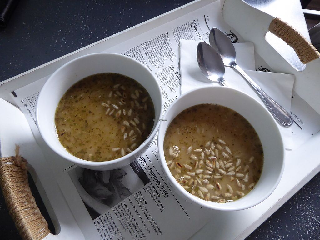 """Photo of Pierre Fresh Bistro  by <a href=""""/members/profile/Forry"""">Forry</a> <br/>Pea soup with sunflower seeds <br/> April 1, 2018  - <a href='/contact/abuse/image/70679/379483'>Report</a>"""