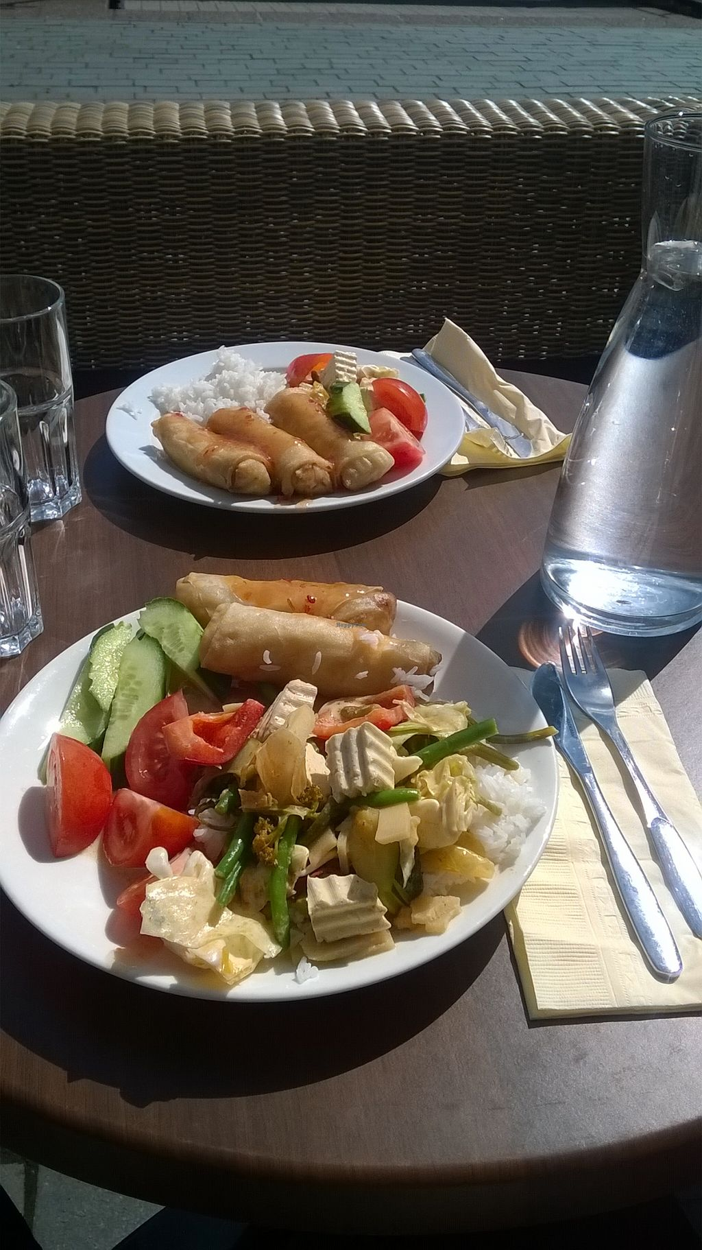 """Photo of Muang Thai Oy  by <a href=""""/members/profile/Miio%20Seppaenen"""">Miio Seppaenen</a> <br/>Tofu with coconut curry, rice, spring rolls, tomato, cucumber, sweet and sour sauce <br/> March 10, 2016  - <a href='/contact/abuse/image/70690/139519'>Report</a>"""