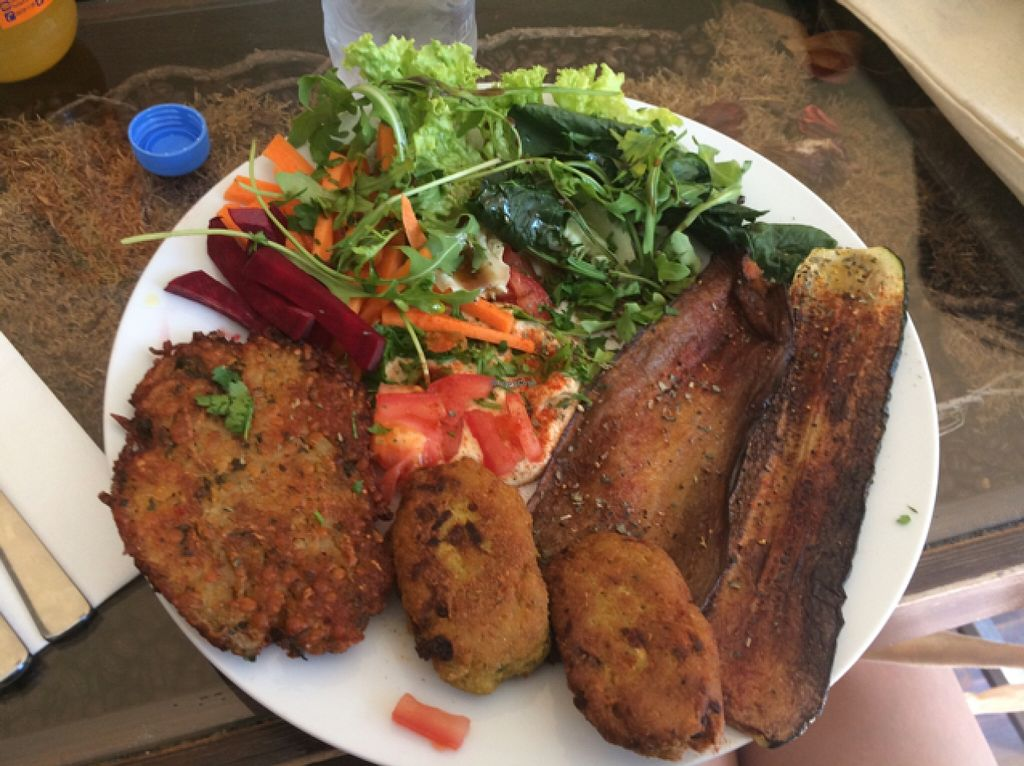 """Photo of Couscous  by <a href=""""/members/profile/mickeysmousepad"""">mickeysmousepad</a> <br/>'Veggie Plate' - salad, aubergine, falafel, selery schnitzel and hummus <br/> May 10, 2016  - <a href='/contact/abuse/image/70787/148352'>Report</a>"""