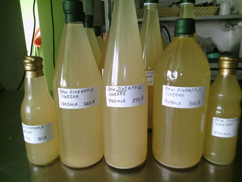 """Photo of CLOSED: The Vegan Shop  by <a href=""""/members/profile/BobJohnson"""">BobJohnson</a> <br/>4 Sale: Raw apple cider vinegar, unfiltered, unpasteurized, unheated. Prices and amounts as pictured. Available at Sing Johnson Garden Home, 31 Soi 22 Chotana Road, Chiang Mai. GPS coordinates 18.835285 98.978192 Pictures on Happy Cow <br/> April 16, 2016  - <a href='/contact/abuse/image/70788/144938'>Report</a>"""