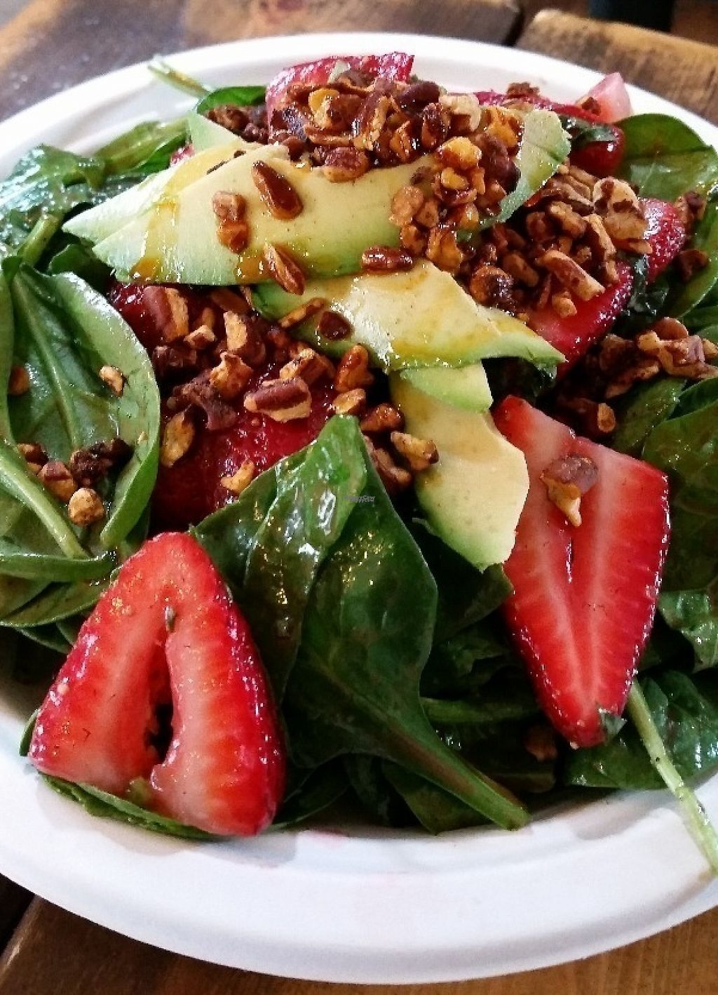 """Photo of A Broken Angel - Food Cart  by <a href=""""/members/profile/Beezelbarb"""">Beezelbarb</a> <br/>Balsamic spring greens salad with basil macerated strawberries, spicy candied pecans, and avocado <br/> October 26, 2016  - <a href='/contact/abuse/image/70816/218741'>Report</a>"""