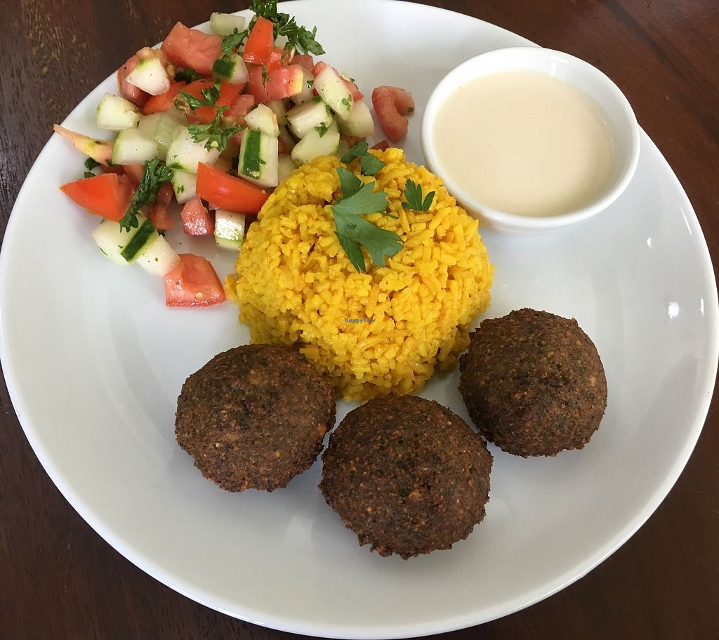 "Photo of Hummus Elijah  by <a href=""/members/profile/Abumaor"">Abumaor</a> <br/>Falafel Balls, Tumeric Rice, Mediterranean Salad with Tahini Sauce. 100% Vegan <br/> November 1, 2017  - <a href='/contact/abuse/image/70821/320779'>Report</a>"