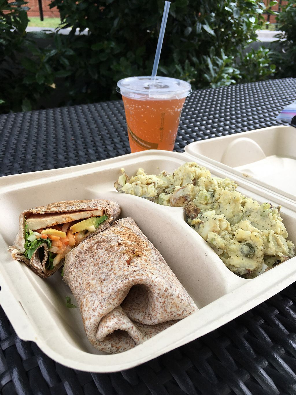 """Photo of Elemental Coffee  by <a href=""""/members/profile/dlachica"""">dlachica</a> <br/>BBQ tofu wrap with dill potato salad and draft kombucha  <br/> October 3, 2017  - <a href='/contact/abuse/image/70923/311507'>Report</a>"""