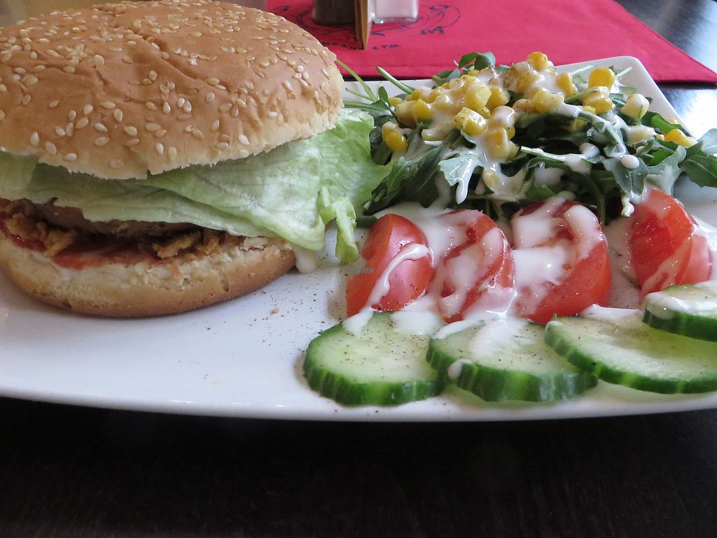 "Photo of CLOSED: VeGonas  by <a href=""/members/profile/VegiAnna"">VegiAnna</a> <br/>veggie burger with side salad (vegan) <br/> February 28, 2017  - <a href='/contact/abuse/image/70924/231301'>Report</a>"