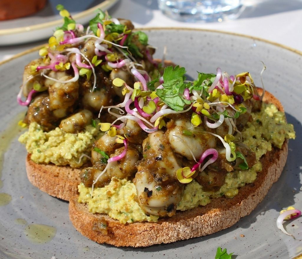 """Photo of Bhuti  by <a href=""""/members/profile/kezia"""">kezia</a> <br/>We tried Raw hummus bruschetta with green beans in aubergine sauce <br/> September 2, 2016  - <a href='/contact/abuse/image/70925/173027'>Report</a>"""